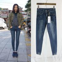 Free Shipping Free Shipping 2014 women's elastic tight skinny pants trousers retro finishing jeans pencil pants 7039