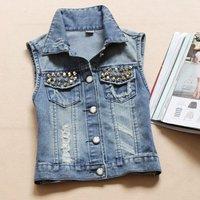 New 2014 summer denim vest female retro rivet a waistcoat fashion sleeveless denim coat short cardigan jeans jacket women M,L,XL