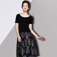 2014 summer new arrival women print t-shirt expansion bottom organza one-piece dress set