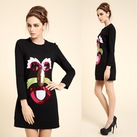 2014 spring and summer fashion embroidery paillette one-piece dress wrist-length sleeve basic skirt