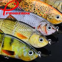 "5pc/lot New 2014 Proberos 4 Sections Fishing Lure 12.3cm/4.9""-0.6oz/17g Swimbait Fishing bait 6# Black Hook Fishing Tackle"