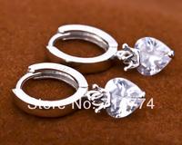 GNE0014 Silver Crown Hoop Earrings 11x21mm Fashion 925 Sterling silver Jewelry Zircon Heart Earrings for Women Free shipping