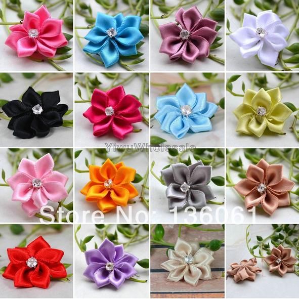 12 Colors 100pcs Candy Satin Ribbon Hairpin Flowers &Rhinestone Wedding Appliques Craft Trims Decorative Flowers P1985(China (Mainland))
