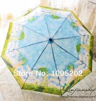 Beautiful monet oil painting umbrella wooden handle three fold umbrella