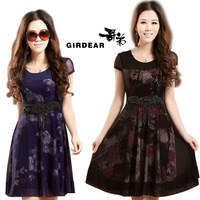New 2014 Summer Fashion Women's Beaded Chiffon Lace One-piece Dress Plus Size S-XXXL 4XL Slim Print Floral Silk Dress