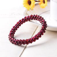 Free shipping Garnet multi-circle bracelet