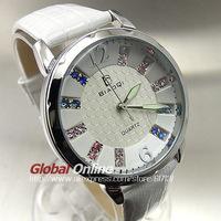 2014 New Fashion White Leather Strap Women Dress Watches  Hour Clock Stylish Crystal Quartz Ladies Wrist Watch