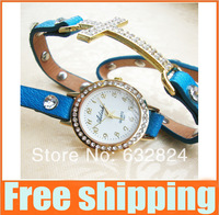 2pcs Bracelet Retro Vintage Watch for Ladies quartz watch Rome rhinestone leather cross punk style woman fashion Casual watches