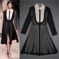 Best Grade New Hot Sale Women Dress 2014 Autumn Spring Elegant Embroidery Peter Pan Collar Long Sleeve Black Dress Novelty Dress