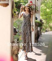 Women Summer Beach Dress New 2014 Holiday Ladies Beach Long Sundress Girls Casual Print Dress 003 Drop shipping