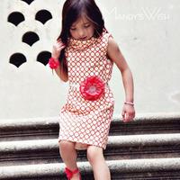 Free shipping 2014 summer one-piece dress girls dot 100% cotton princess dress