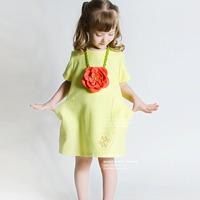 Free shipping 2014 summer girls one-piece dress princess dress with flower