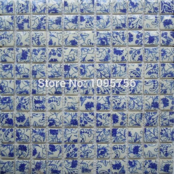 Azul e branco da porcelana mosaico banheiro telha da parede grátis frete NL096(China (Mainland))