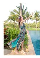 Women Summer Beach Dress New 2014 Holiday Ladies Beach Long Sundress Girls Casual Print Chiffon Dress 05Drop shipping