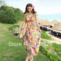 Women Summer Beach Dress New 2014 Holiday Ladies Girls Beach Long Casual Print Chiffon Flower Dress 06Drop shipping