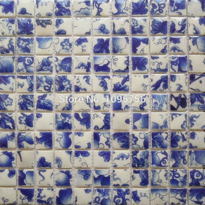 Azul e branco da porcelana mosaico banheiro telha da parede grátis frete NL090(China (Mainland))