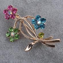 Ladies Flower Rhinestone Colored Crystal Gold Plated Brooch Broach Gift