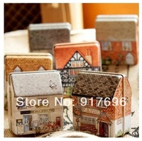 New Free shipping 12pcs/lot mini europe style small house tin box relief stereo small tin kit storage box case organizer sale