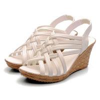 Women Summer fashion beach sandals platform open toe medium 7cm heels wedges elastic strap 2015 casual female shoes