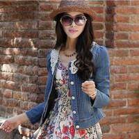 2014 New outwear jeans coat fashion Jeans blazer women plus size retro lace collar long-sleeve jeans jackets denim short jacket