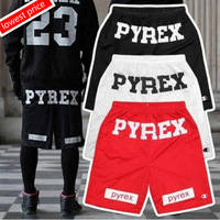 Cheap Brand Style 2014 Pyrex Shorts For Men Loose Harajuku Slim Shorts Hot Hip-hop Street Drop Ship Black BAB053-01