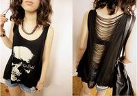 2014 Summer Punk Style Women Skull Print T Shirts Vest Hollow Out Tassel Tank Tops Black 20J73