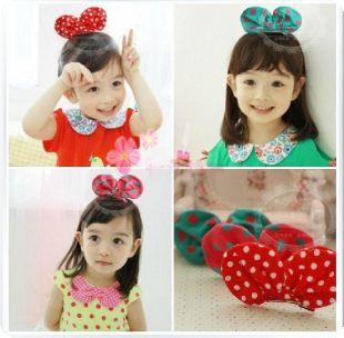 Children's Cotton Dot Mickey Ear Hair Clip(China (Mainland))