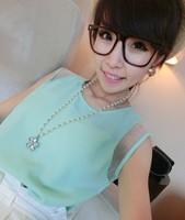 2014 New Spring Summer women Casual chiffon Blouse Sleeveless Organza shirt 4 colors N2870