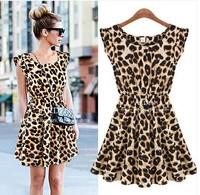 ree Shipping European Summer Fashion Print Women's Dress Leopard
