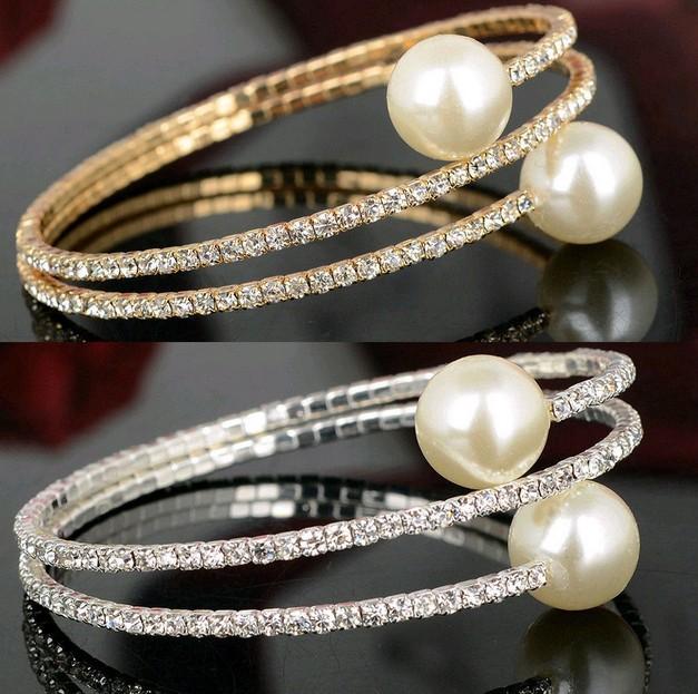 Diamante Rhinestone 3Row Crystal Pearl Spiral Wedding Bridal Arm Bracelet Bangle(China (Mainland))