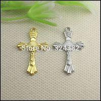 26x17mm 100pcs Antique silver gold tone Metal Jesus Cross Charm pendant Beads making Bracelet / Necklaces jewelry findings