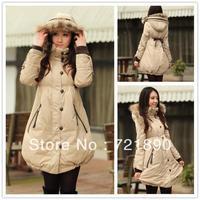 women's long Loose plus size XS-6XL down coat with fur collar