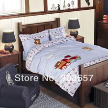 new Embroidery applique kids children girls bedding light blue train bear cotton twin full queen size duvet covers comforter set(China (Mainland))