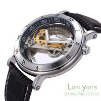 SHENHUA Steampunk Transparent Skeleton Mens Silver Auto Automatic Mechanical Wrist Watch Free Ship