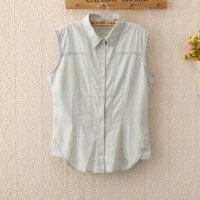 1132 New Fashion Women Sleeveless shirts Spring Clothes Camisas Jeans Denim Blouse Top shirts pocket Shirt M,L Summer Shirt
