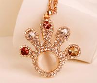 Korean fashion crystal-hand sweater chain long necklace female wild retro cute crystal