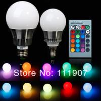 RGB E27 E14 5W/10W AC85-265V LED Bulb Lamp with Remote Control Multiple Colour LED Lighting Free Shipping