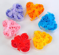 Wholesale, 6pcs flower toilet soaf set , wedding gift, Valentine's Day gift, 100sets/lot, free shipping by EMS