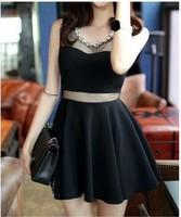 2014 Summer New fashion European fashion style short sleeve round collar perspective collar women skirt