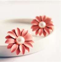 JD2052 Free shipping minimum order $10 (mix order) new arrival pink daisy flower stud earring hot-selling for lady