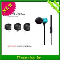 Free shipping 5pcs/lot Fashion MJ-V8 3.5mm metal ln-Ear Earphone Headset Earset Earbuds Headphone for iPhone Ipod MP3/4 phone