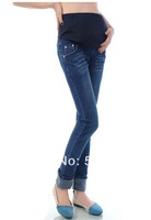 Maternity Clothes Pregnant Women Star Pattern Bottom Flanging Design Pencil Jeans WJ105
