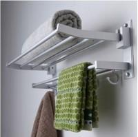 BIG HOUSE Space aluminum bathroom towel rack bathroom hardware set folding double layer towel rack JU0413