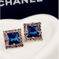 Luxurious exquisite full doorsill rhinestone square gem all-match fashion stud earring