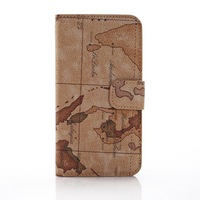 2014 New World Map Print Matte Leather Flip Stand Function Cover Phone Bag Case for Samsung Galaxy S5 i9600 Wholesale