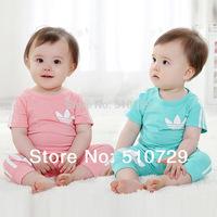 4 sets/lot wholesale baby summer clothes kids cotton clothing set  cute t shirt + pants children sets casual suit short sleeve