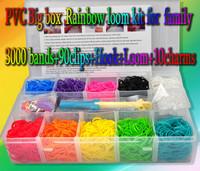 New 2014 kit loom bands 3000 bands superior loom&hook 90clip 10charms DIY bracelet silicone bands family loom kit bracelet