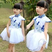 GD035 new arrive 2014 summer girls fashion modern dress white dress with blue porcelain design girl princess dresses party dress