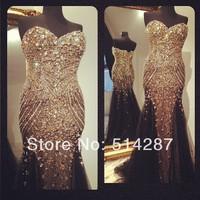 Brilliant Custom Made Crystal Beading Sweetheart Golden Black Floor Length Prom Dresses Evening Dress 2014 New Arrival