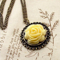 JD4049  Free shipping fashion new arrival accessories vintage rose flower necklace for lady